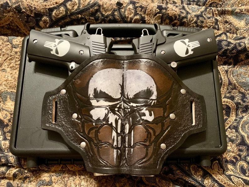 Custom Leather Double Holster 1911 Punisher Skull
