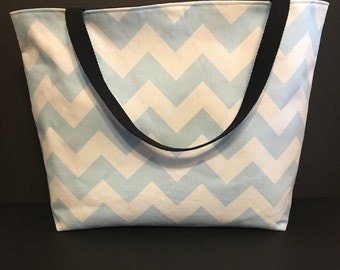 Large Blue Chevron Beach Bag, Large Tote, Summer Bag