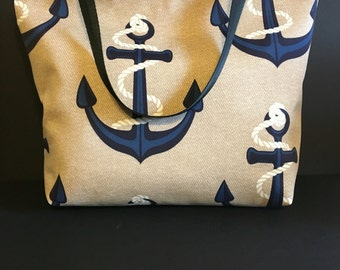 Large Anchors Nautical Beach Bag, Large Tote, Summer Bag