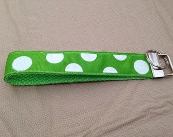 Green with white polka dots keyfob/keychain/wristlet/key holder