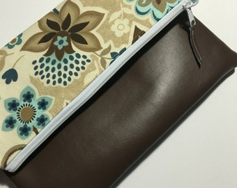 Blue, Tan and Brown Floral Fold Over Clutch, Clutch Purse, Vinyl Fold Over Clutch