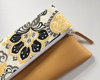 Grey, Black and Gold Floral Fold Over Clutch, Clutch Purse, Vinyl Fold Over Clutch