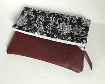 Black and White Floral Fold Over Clutch, Clutch Purse, Vinyl Fold Over Clutch