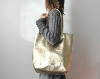 EMMA BAG (LARGE) Platinum gold bag, Extra large leather bag, Leather tote bag , Leather bag, gold leather bag, Metallic leather bag
