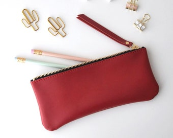 Leather pencil case, zipper case, real leather pouch, back to school, real leather pencil case, red pencil case, red leather case