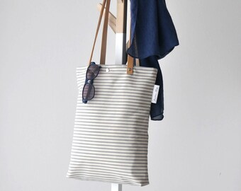 Summer bag, Canvas bag, Canvas tote bag, Canvas tote, Stripes fabric, Stripes bag, Summer tote, Nordic style,Genuine leather and canvas bag