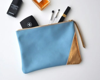 Light blue and gold leather pouch, leather clutch, make up bag, large leather pouch, bridesmaid gift,zipper leather pouch, leather pochette