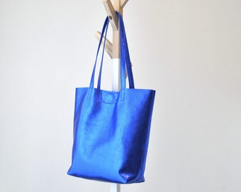 EMMA BAG Blue bag, Large leather bag, Woman leather bag, Leather tote bag , Leather bag, Electric blue leather bag, Metallic leather bag