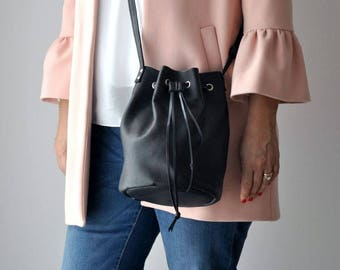 Black leather bag, Crossbody bag, Woman leather bag, Leather bucket bag, Leather bag, Black handbag, Black bag