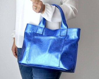 CAMILLA BAG Metallic blue bag, Large handbag, Woman leather bag, Leather tote bag , Leather bag, Leather handbag, Metallic leather bag