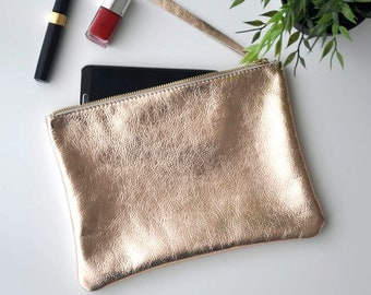 Rose gold leather pouch, leather clutch bag, make up bag, leather purse, bridesmaid gift, zipper leather pouch, metallic leather case