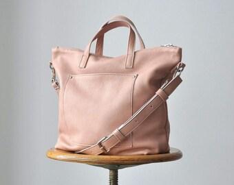MARTINA BAG Leather bag, Crossbody bag, Blush leather bag, Zippered bag, Everyday bag, Pink bag, Woman leather bag, Top zip closure