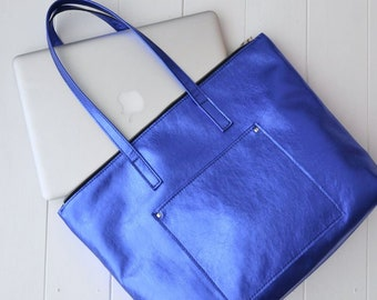 "VANESSA BAG Leather bag, Laptop bag for MacBook Air 9""x13"", Zippered bag, Everyday bag, Shoulder bag, Woman leather bag, Top zip closure"