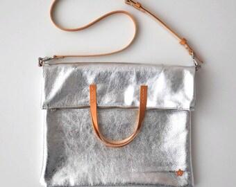 ANNA BAG Fold over bag, Crossbody bag, Woman leather bag, Leather tote bag , Leather bag, Silver leather bag, Metallic leather bag