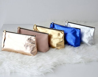 Metallic leather pouch, make up bag, small leather pouch, bridesmaid gift, leather clutch bag, zipper leather pouch, leather case