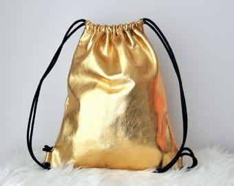 Gold backpack, Drawstring backpack, Leather backpack, Woman leather bag, Leather bag, Tote bag, Metallic leather bag