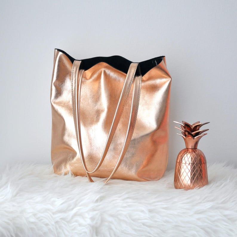 816b2aa50ca55 EMMA BAG Rose gold Tasche große Ledertasche Frau