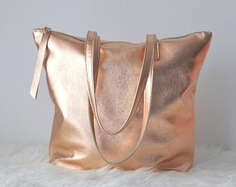 Rose gold bag, Zippered leather bag, Large leather bag, Leather tote bag , Leather bag, gold leather bag, Metallic leather bag