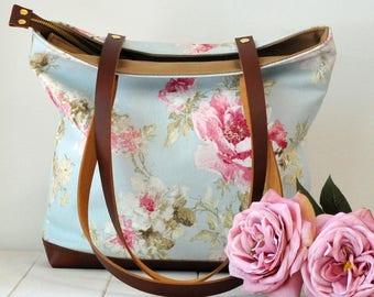 Summer bag. Flowers bag. Light blue bag. Spring bag. Shabby chic bag. Romantic bag. Fabric and leather bag. Gift for her. Pastel colors bag