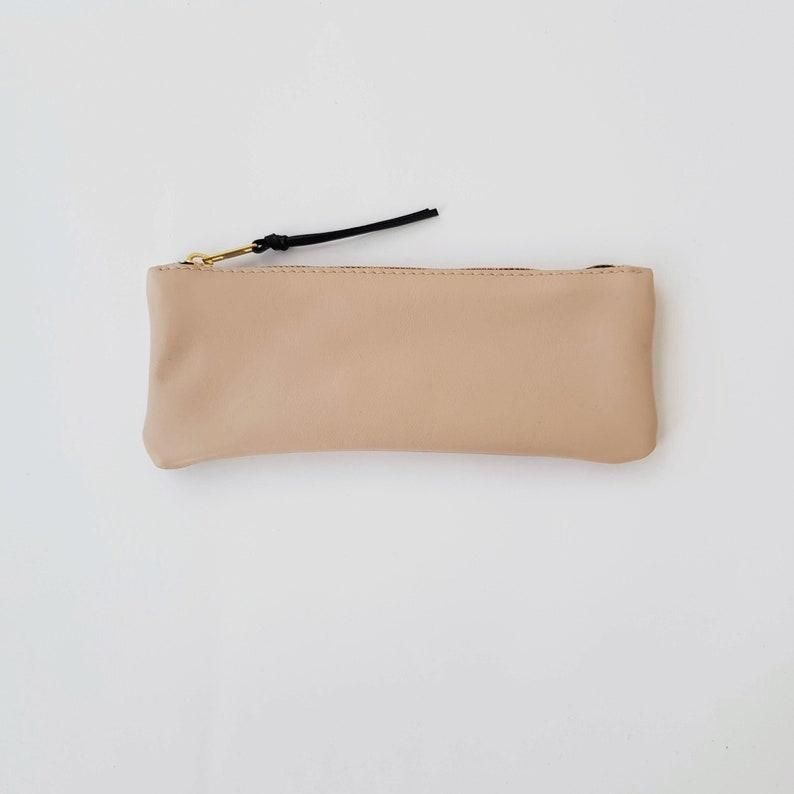 bd3598762e PENCIL CASE Lined Nude leather pencil case zipper case