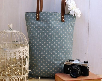 Cute tote made of soft japanese fabric with silver stars and genuine leather handles (PINK COLOR also AVAILABLE)