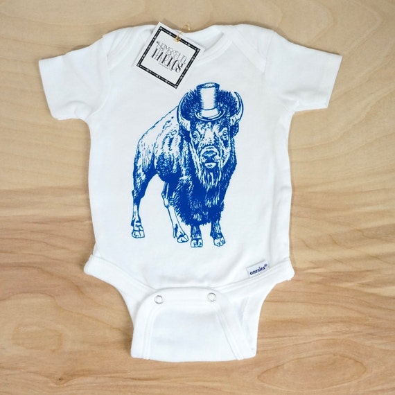 818bf231b78d Blue Buffalo with Top Hat Organic Onesie Baby Clothes Screen