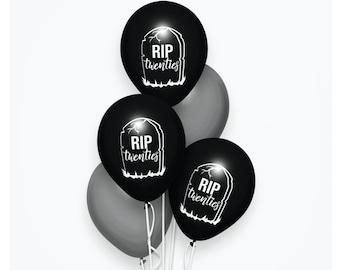 R.I.P Twenties Birthday Black Balloons Set, Black Minimalist Party Supply Decor, Rest in Peace 20s, Happy 30th Birthday, Adult Life