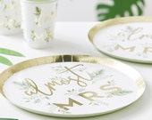 Almost Mrs Paper Plates Gold Foiled Green Botanical Bridal Shower Bachelorette Hen Party Decor Elegant Disposable Tableware