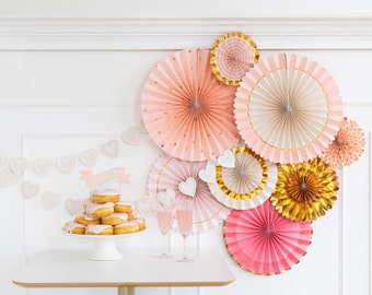 Pink and Gold Paper Fans Decoration, Paper Fans and Rosettes, Paper Fans for Photo Backdrop, Wall Fans Set, Wall Decoration for Baby Shower