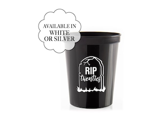 RIP Twenties Black White Cups Set Happy 30th Birthday Plastic Beverage Cup Minimalist Disposable Drinkware Rest in Peace 20s R.I.P.
