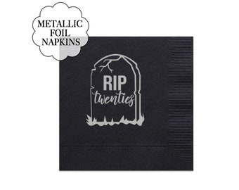 RIP Twenties Napkins Set Birthday Party Decoration Black Metallic Silver Tissues Tableware Gravestone Design Rest in Peace 20s 30th Birthday