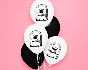 R.I.P Twenties White Black Balloons Birthday Decoration Unisex Bday Party Supply 29 to 30 Celebration Rest in Peace 20s Fun Gothic