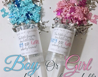 Boy Or Girl? - Gender Reveal Confetti Push-Pops - Pink or Blue - Baby Party Poppers