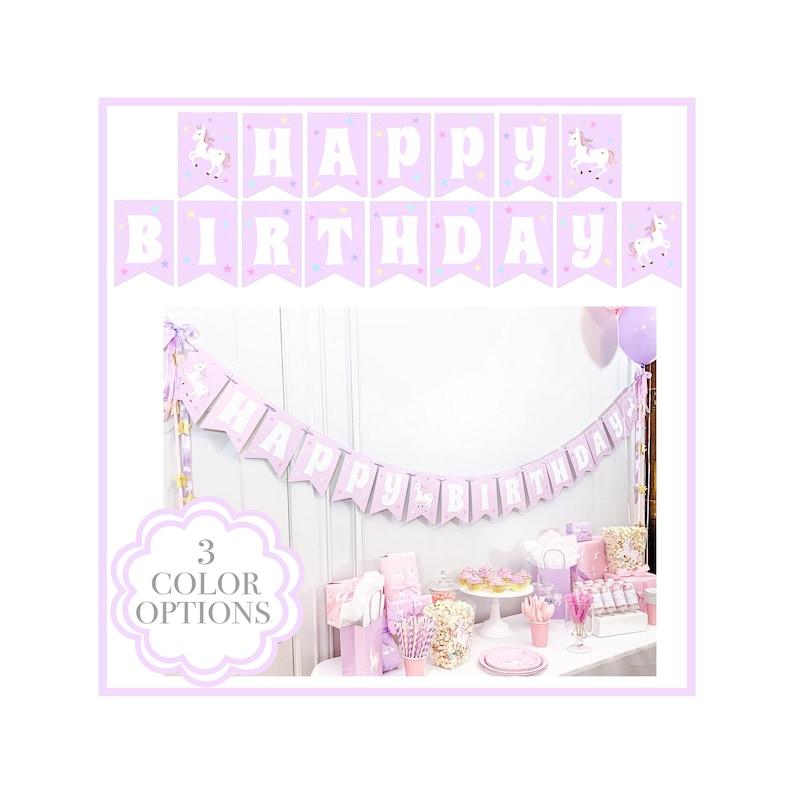 Lavender Purple Unicorn Birthday Banner Unicorn Happy image 0