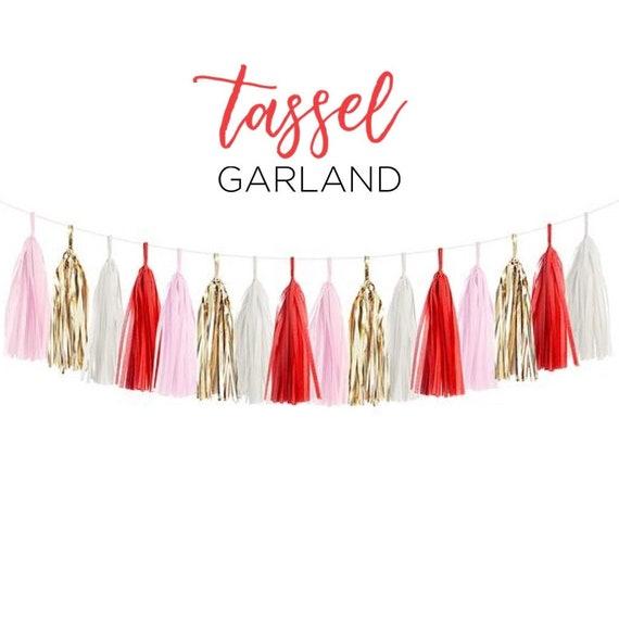 Only 14.50 Valentine/'s Party Banner Red and White Fringe 10 Tassel Valentine/'s Day Tissue Paper Garland Happy Birthday Decorations