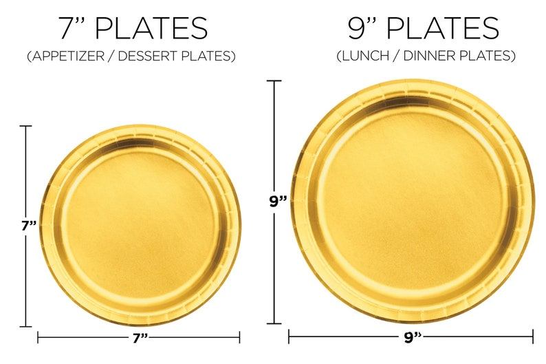 Gold Metallic Paper Plates Dessert Main Course Serving Wedding Engagement Bridal Shower Tableware Luxurious Shiny Round Plates Party Supply