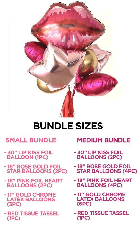 Valentine\u2019s Day Balloon Bundle Red Hearts Stars Pink Lips DIY Bouquet Love You Event Decoration Wedding Birthday Bridal Party Supply