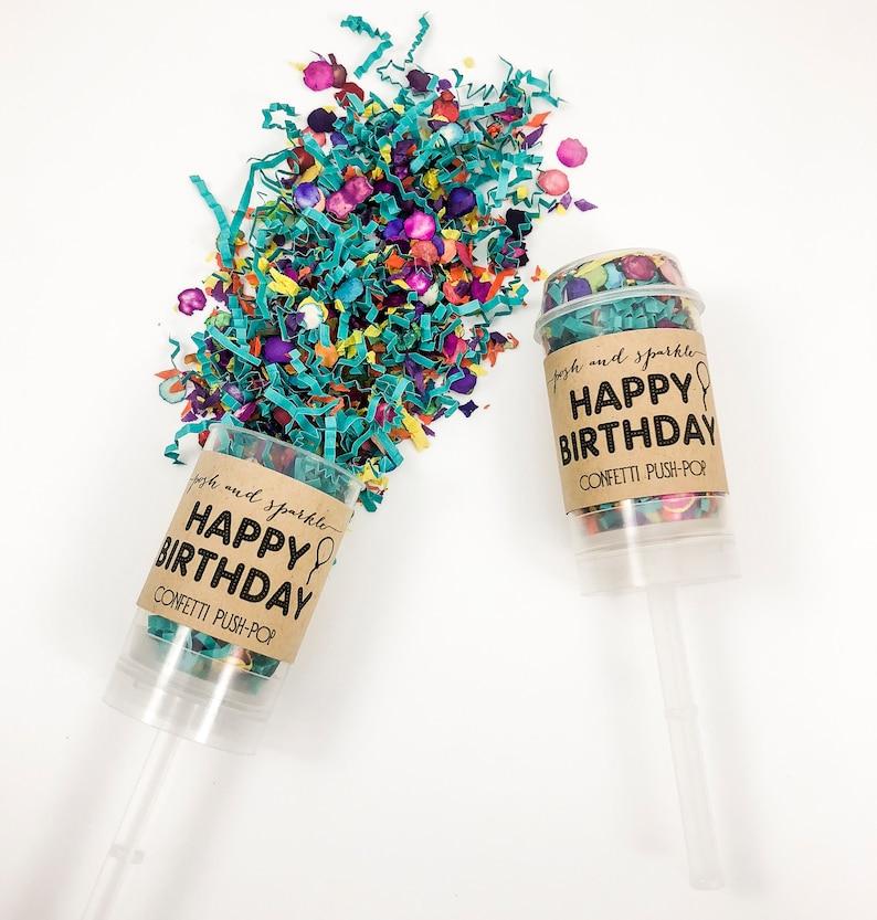 Birthday Popper Pinata Birthday Party Confetti Popper Teal Confetti Push Pop Confetti Pinata Party Favors Happy Birthday Confetti