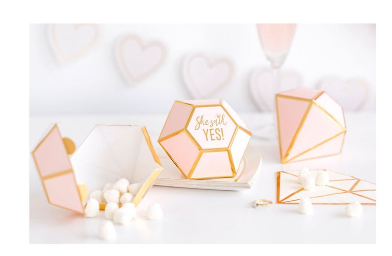 Wedding Candy Box She Said Yes Diamond Favor Boxes Pink and image 0