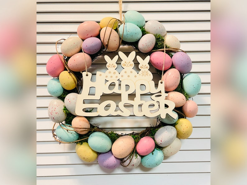 Happy Easter Sign Blank Laser Cut Wood Craft Project Painting Activity Kids Adults Natural Hanging Ornament Spring Party Decoration