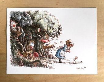 """Twitch Live Art Stream Painting - """"It was only ever fiction: Alice in Wonderland"""""""