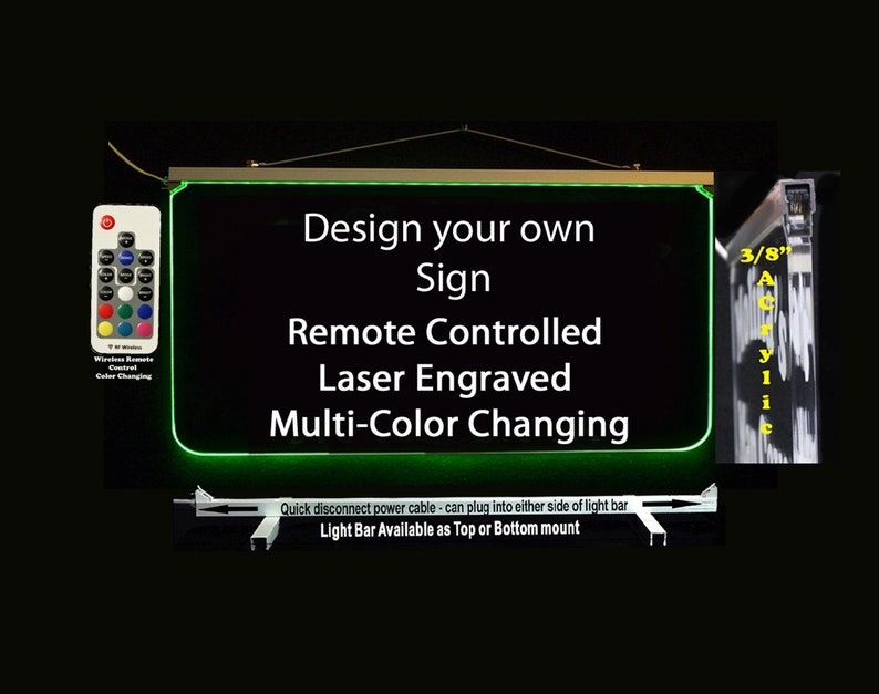 Custom LED Sign, Personalized Multi-Color Changing Acrylic Sign