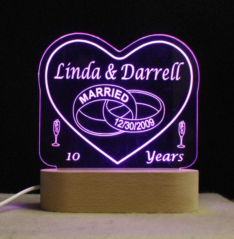 USB110V240V Multicolor light Personalized Wedding Anniversary Table Top Night Light