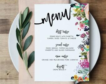Floral Brautdusche Menü Hochzeit Partei Menü druckbare Menü Kalligraphie Menü Frühling Blumen Event Menü Floral Menü Karte Hochzeit