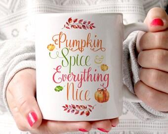 Kürbis Gewürz und alles schön Becher Herbst Becher Weihnachten Urlaub Tasse Winter Becher Herbst Tasse weißer Keramikbecher Typografie Becher