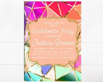 Bachelorette Party Invitation Bachelorette Invite Geometric Invitation Geometric Invite Hens Party Printable Invite Gold Pink Purple Green