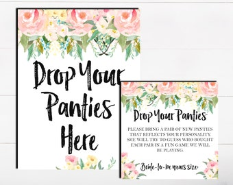 Drop Your Panties Here The Panty Game Lingerie Bachelorette Game Floral Blush Pink Panty Guess Game Lingerie Guess Game Printable Game