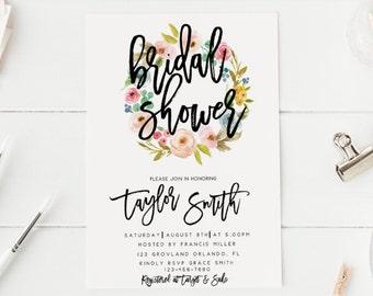 Spring Floral Blush Flowers Pink Bridal Shower Invitation Hens Party Invitation Bachelorette Party Invitation Spring Green Wreath Flowers
