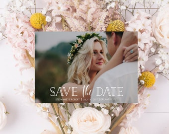 Photography Wedding Save the Date Engagement Save the Date Modern Wedding Save the Date Calligraphy Wedding Invite Photo Card