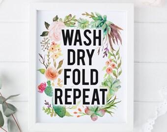 """DRUCKBARE Kunst """"Waschen trocken Falten wiederholen"""" Wäsche Art Print Wäsche Dekor Wäsche Raum Home Dekor Kaktus Kunstdruck Kaktus Wandkunst"""